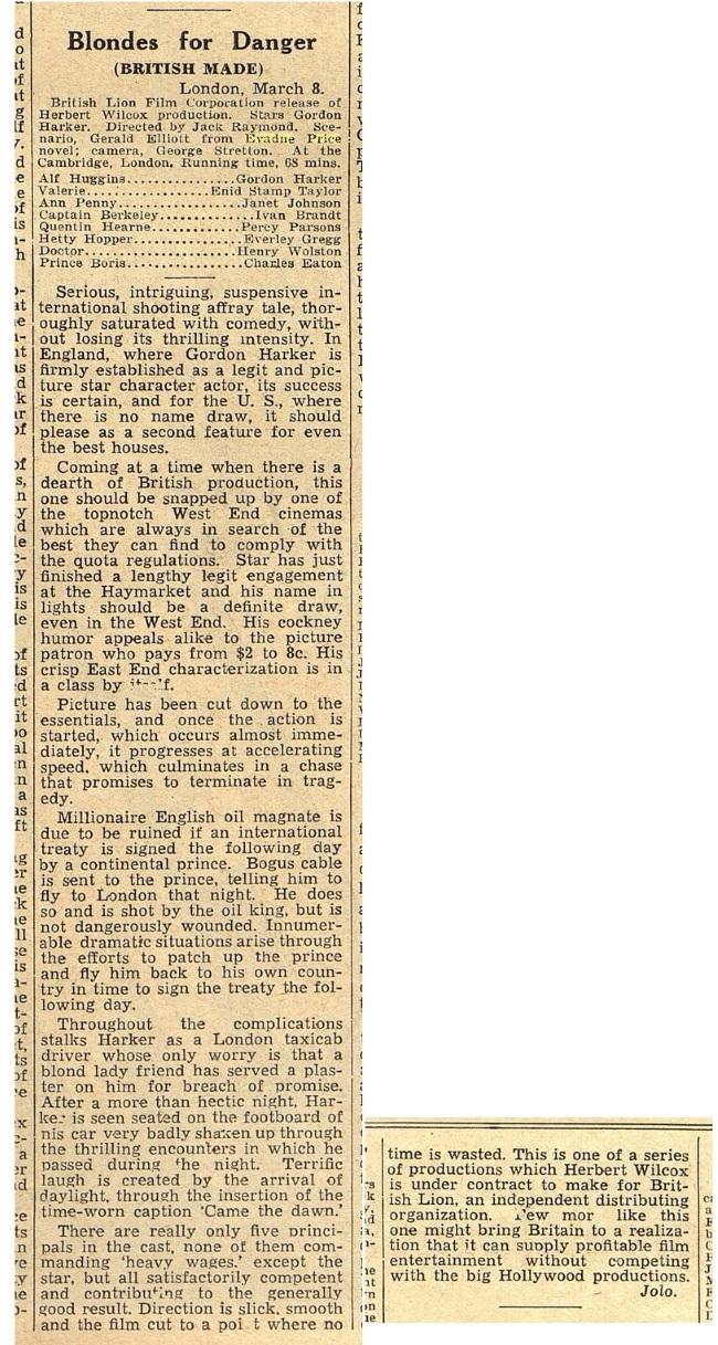 b blondes for danger variety mar 18 1938