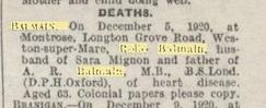 balmain death notice